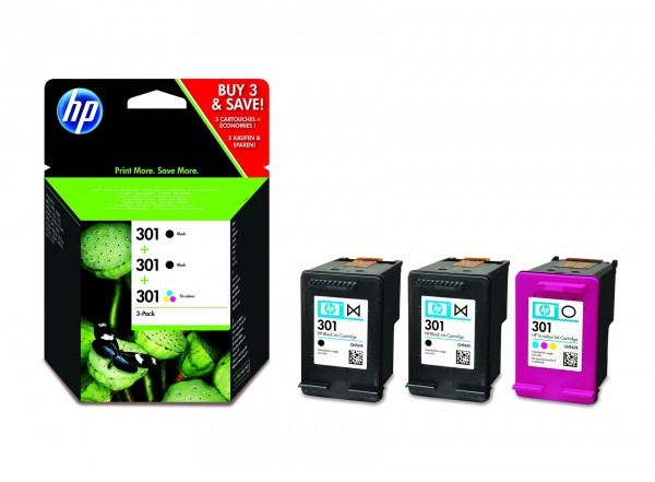 HP 301 Multipack 3er-Tinte 2x schwarz + 1x farbig (E5Y87EE)